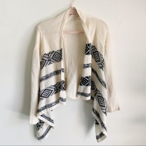 Delia's High Low Knit Cardigan Cream Black Small